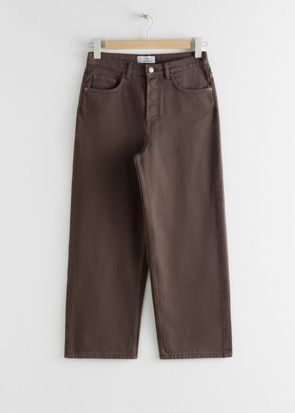 Front image of Stories loose mid rise jeans in brown