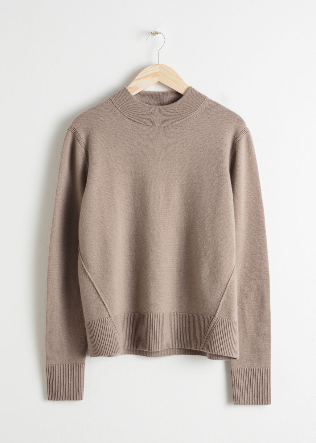 Front image of Stories relaxed fit cashmere sweater in brown