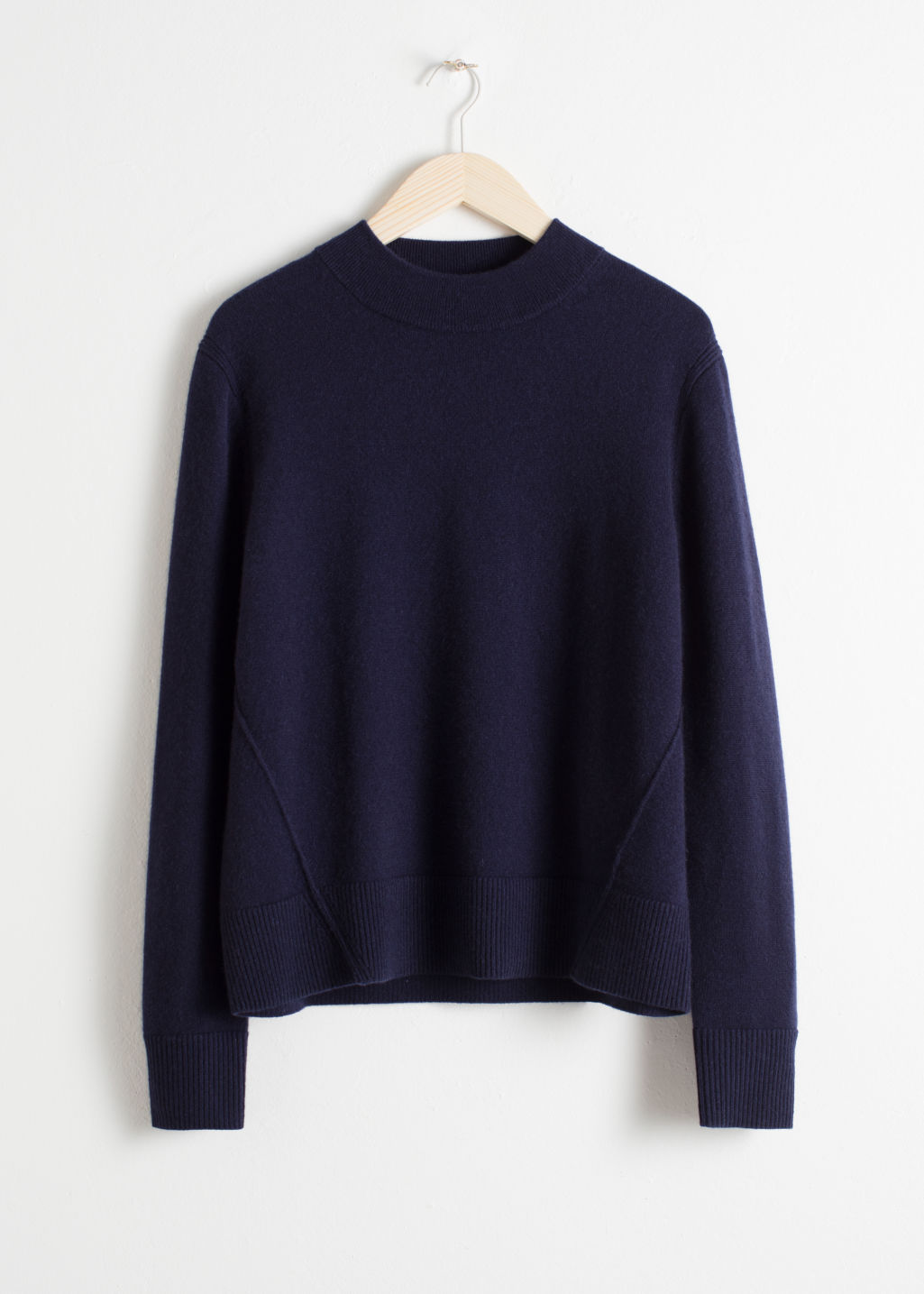 Front image of Stories relaxed fit cashmere sweater in blue