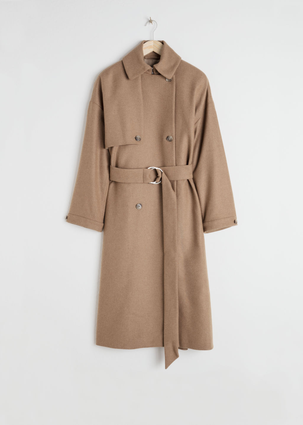Front image of Stories wool blend tailored coat in beige