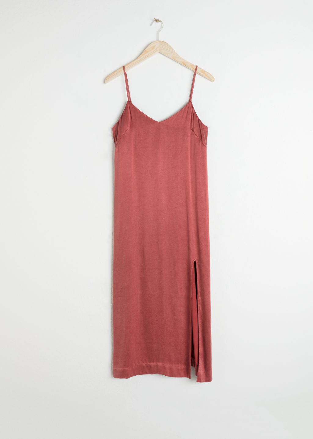 Front image of Stories midi slip dress in orange