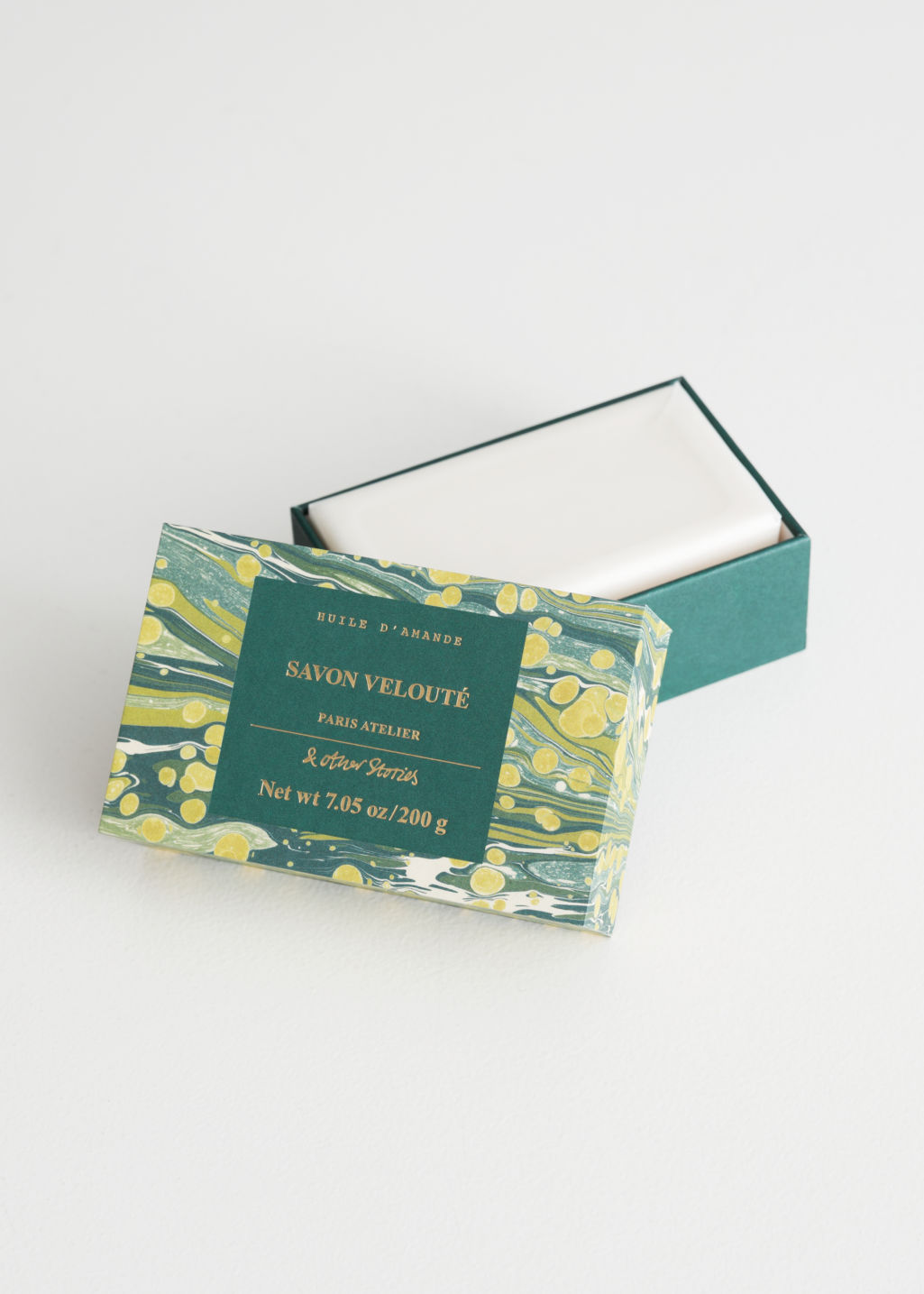 Front image of Stories savon velouté bar soap in white