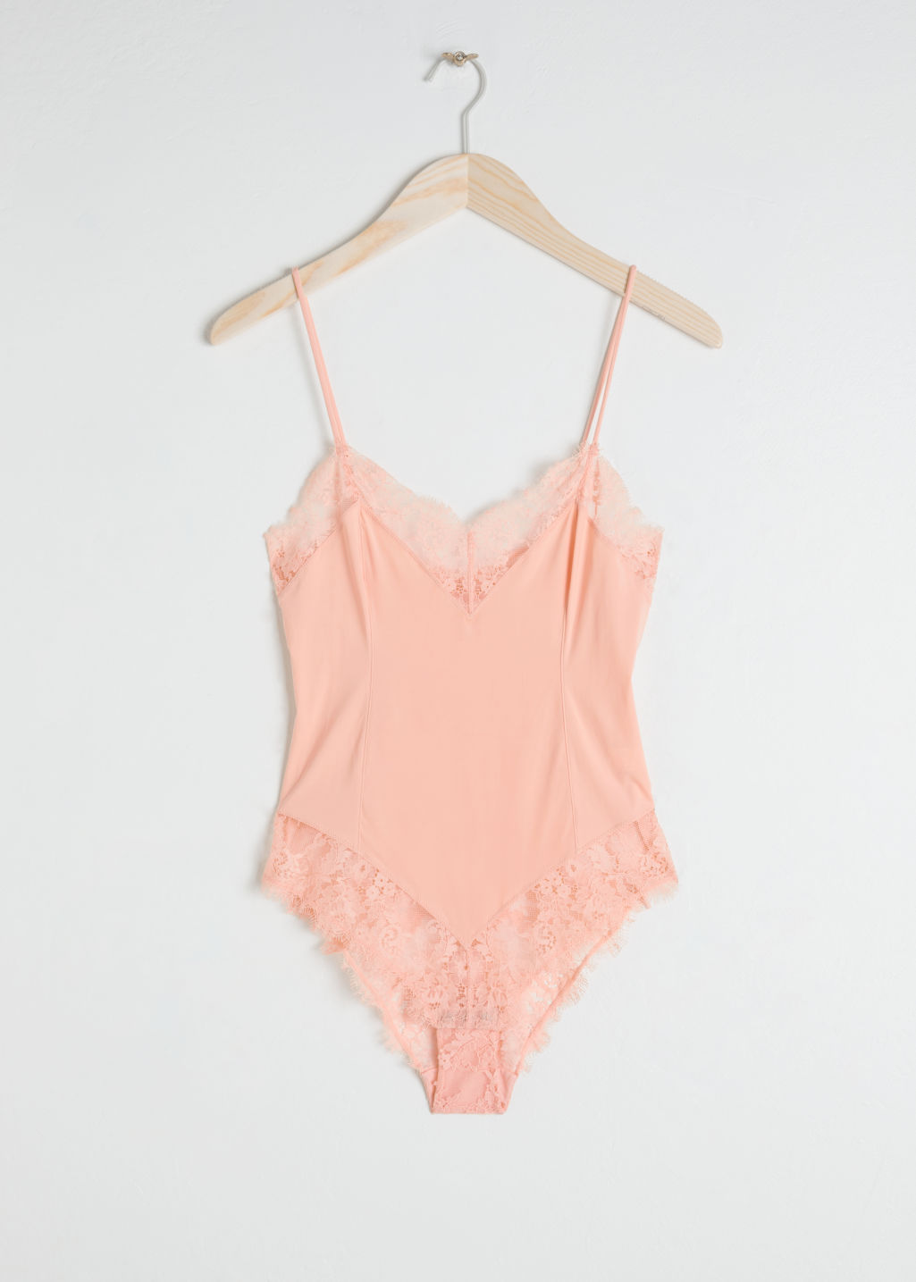 Front image of Stories floral lace bodysuit in orange
