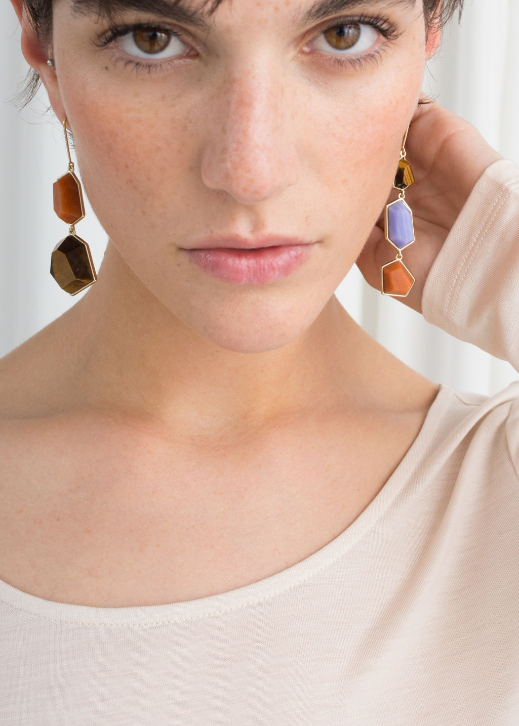 Back image of Stories asymmetric jewel stone earrings in blue