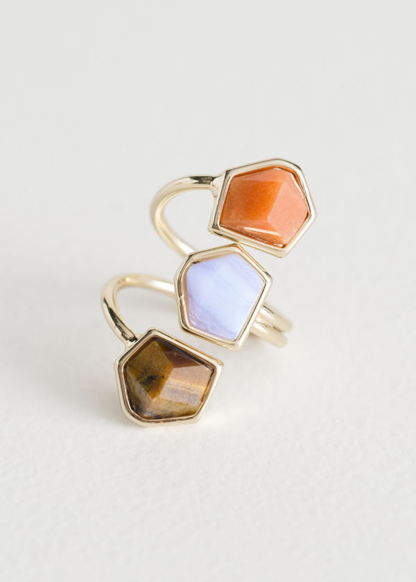Front image of Stories trio stone swirl ring in blue