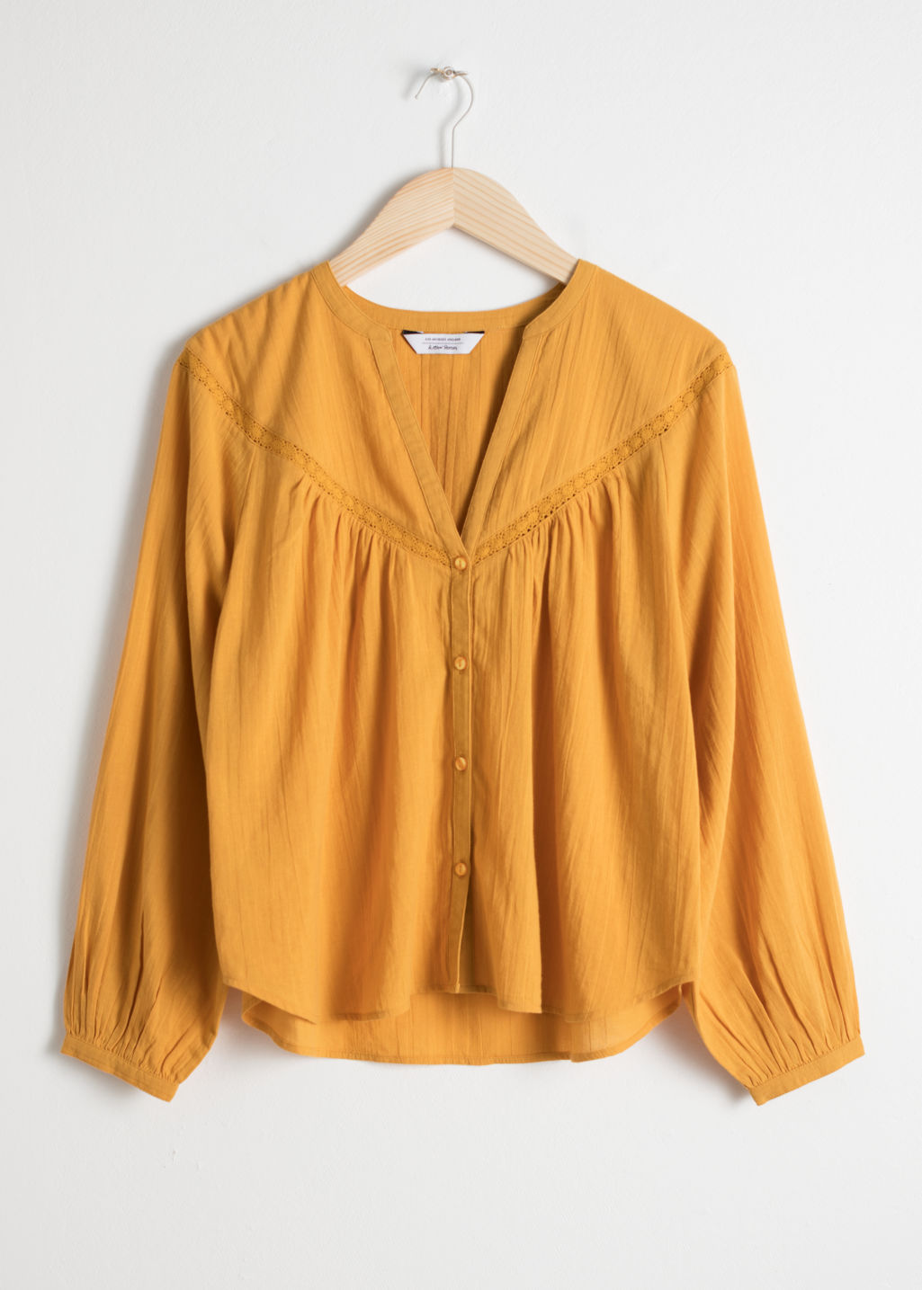 Front image of Stories cotton peasant blouse in yellow
