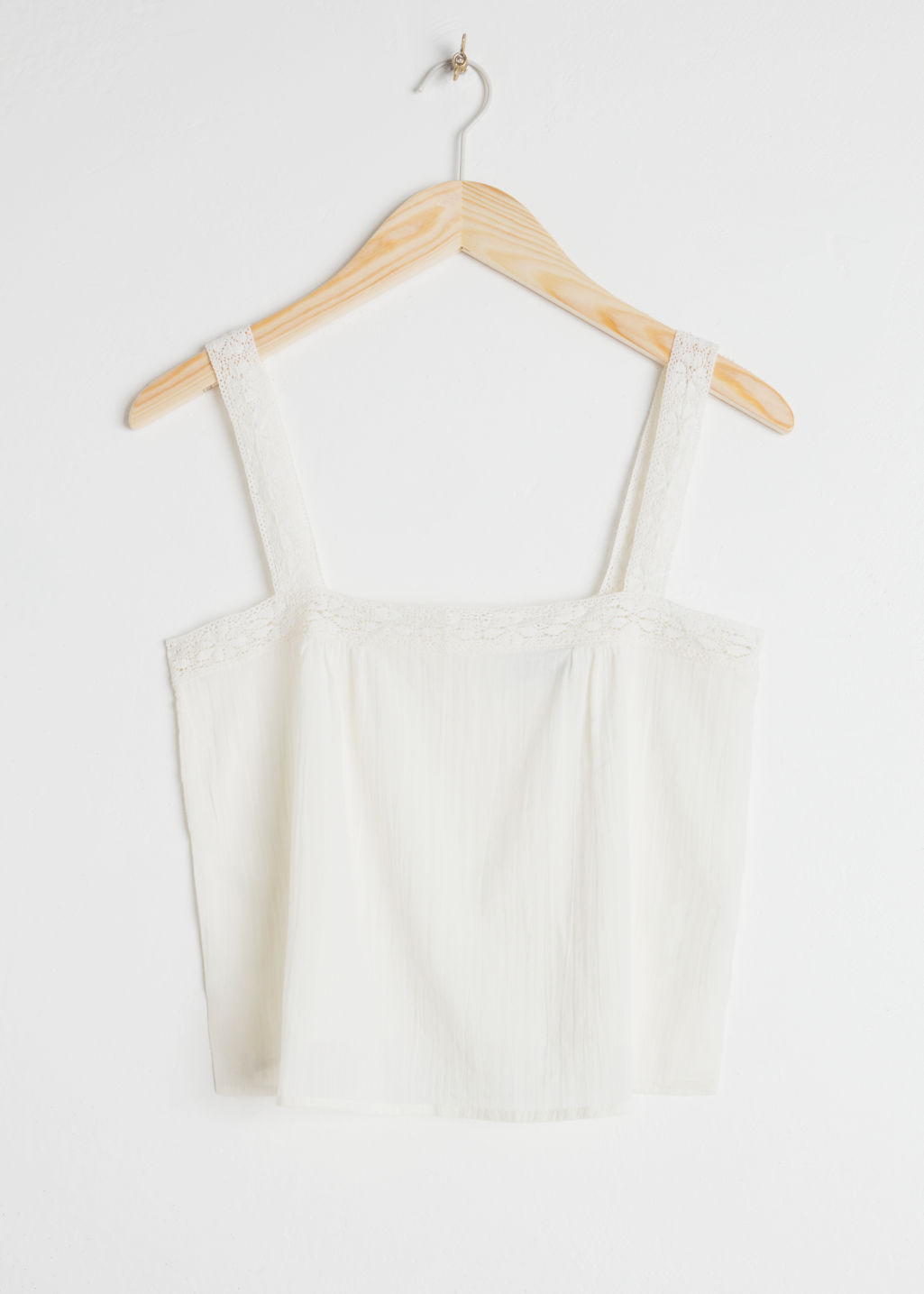 Front image of Stories cotton crochet tank top in white