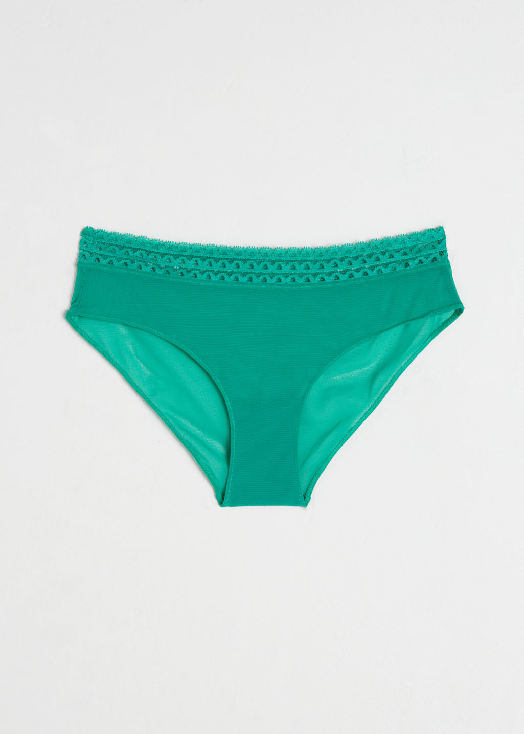 Front image of Stories scallop trim mesh hipster briefs in green