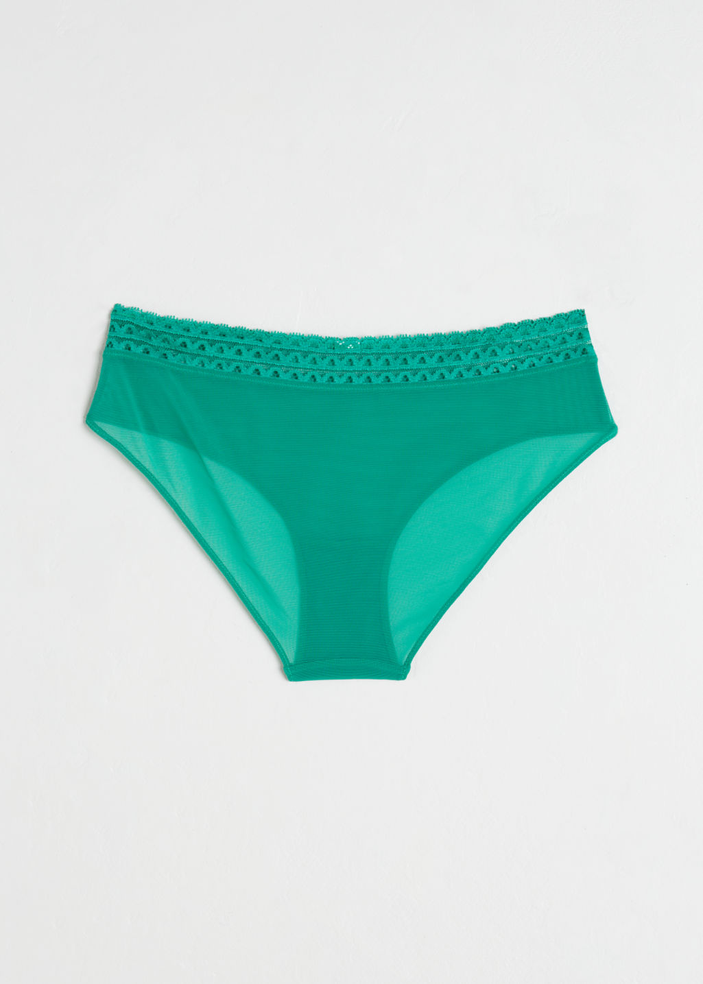Back image of Stories scallop trim mesh hipster briefs in green