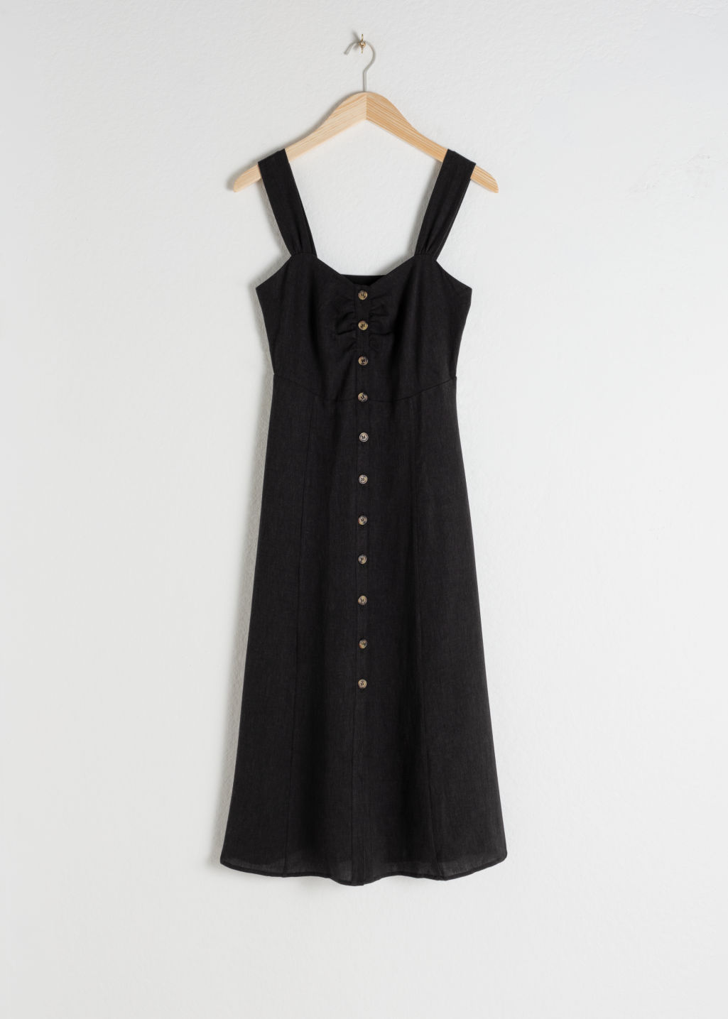Front image of Stories linen blend midi dress in black