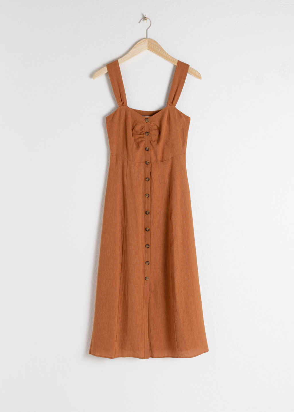 Front image of Stories linen blend midi dress in orange
