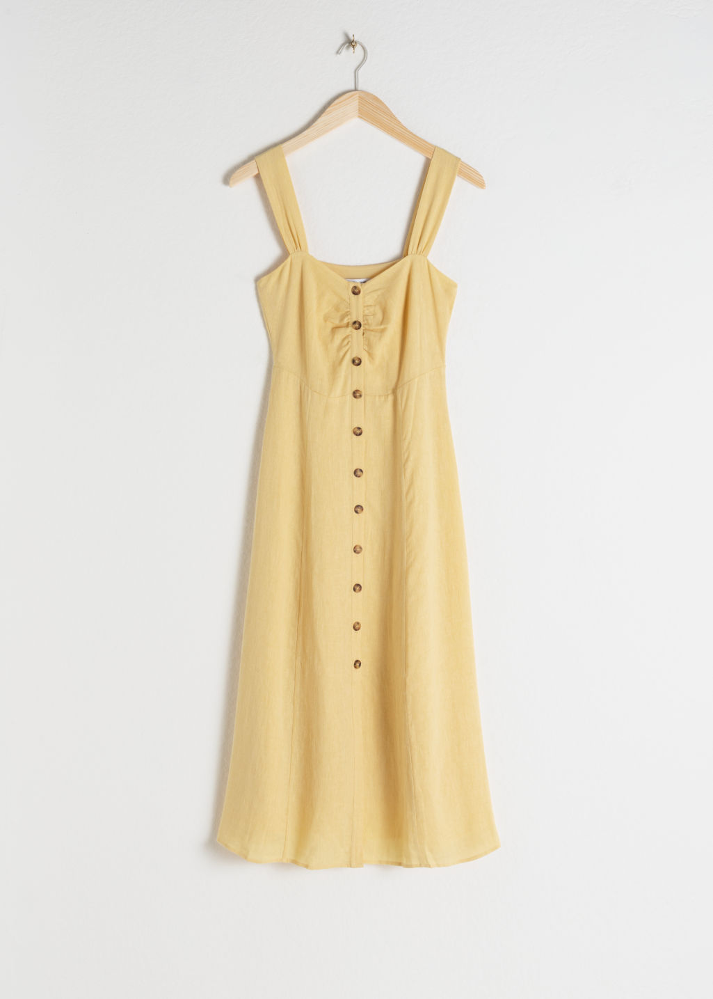 Front image of Stories linen blend midi dress in yellow