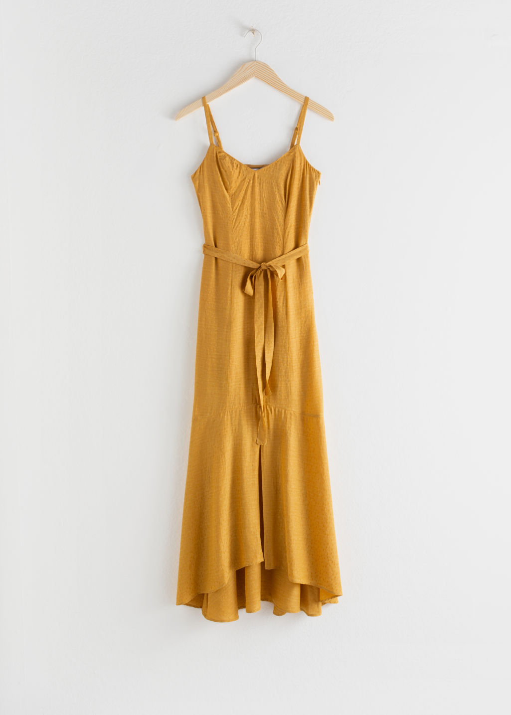 Front image of Stories belted midi dress in yellow