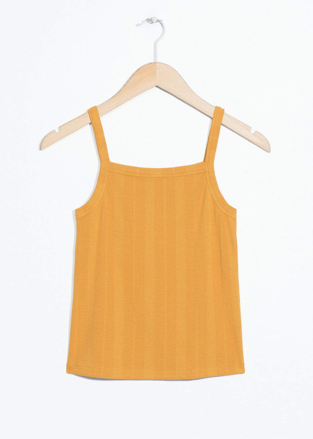 Front image of Stories square neck tank top in yellow