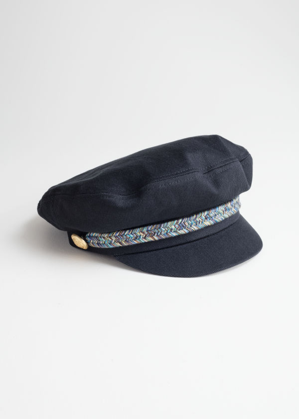 Front image of Stories baker boy cap in blue