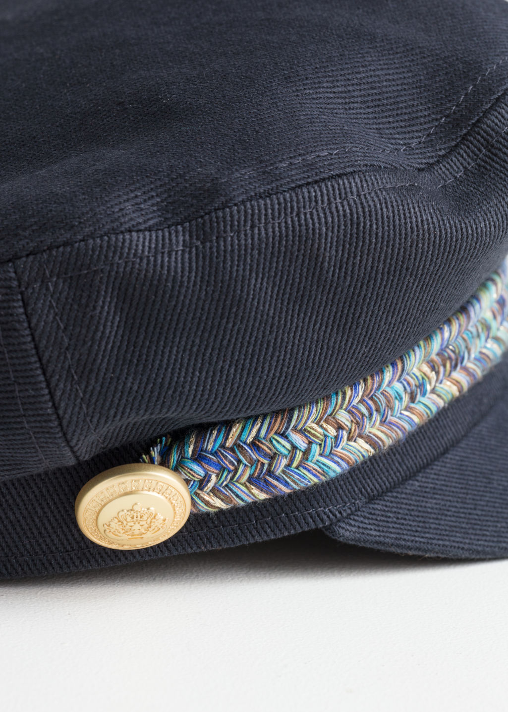Back image of Stories baker boy cap in blue