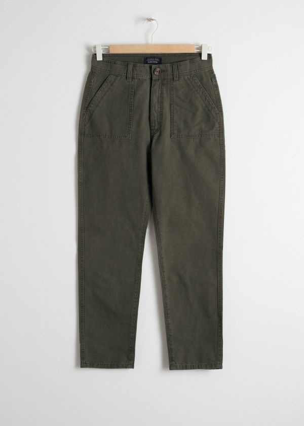 Tapered Cotton Workwear Trousers
