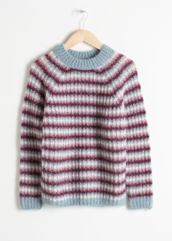 Front image of Stories striped chunky knit sweater in turquoise