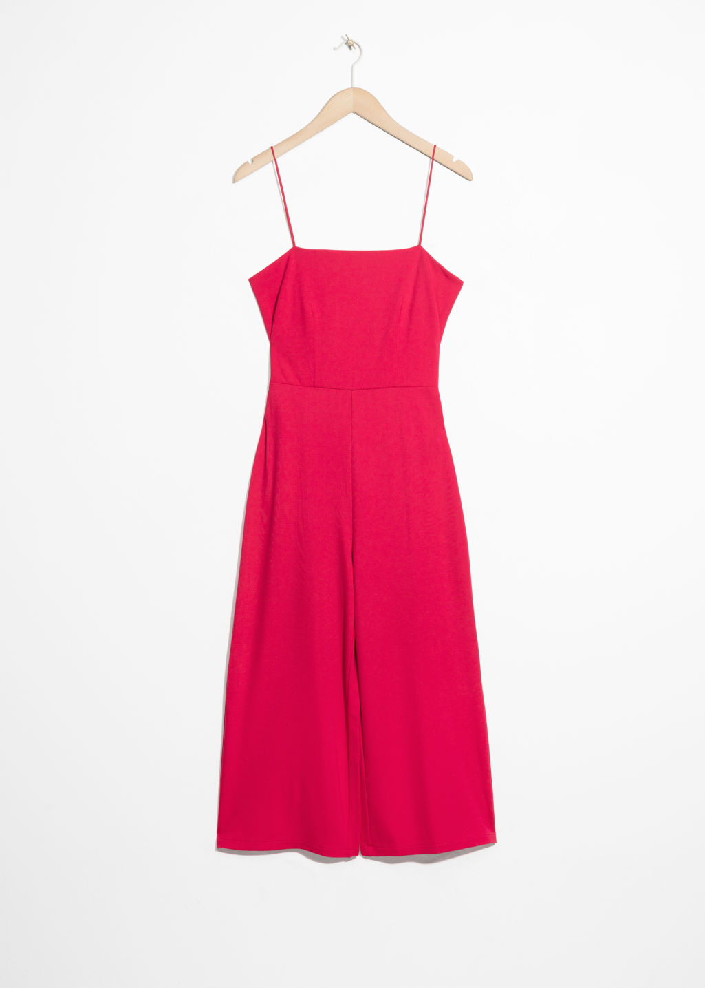 Front image of Stories back tie jumpsuit  in red