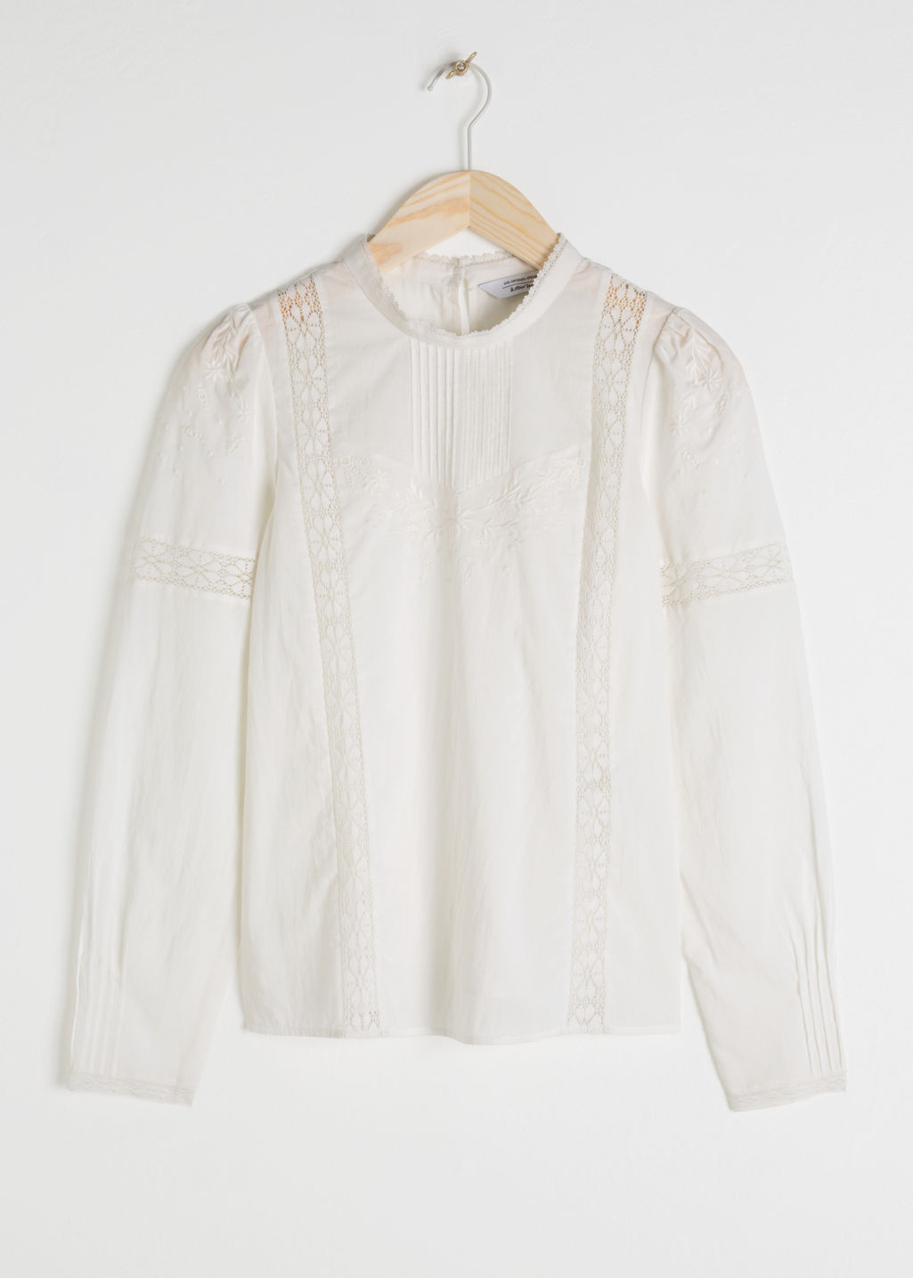 Front image of Stories embroidered cotton blouse in white