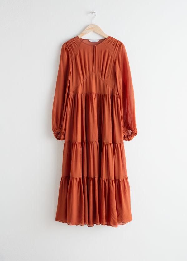 Front image of Stories ruffle tier maxi dress in orange