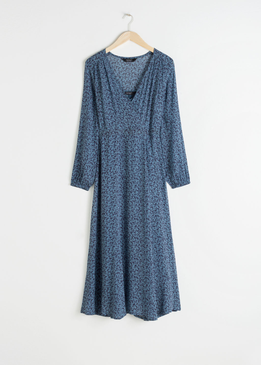 Front image of Stories sheer printed midi dress in blue