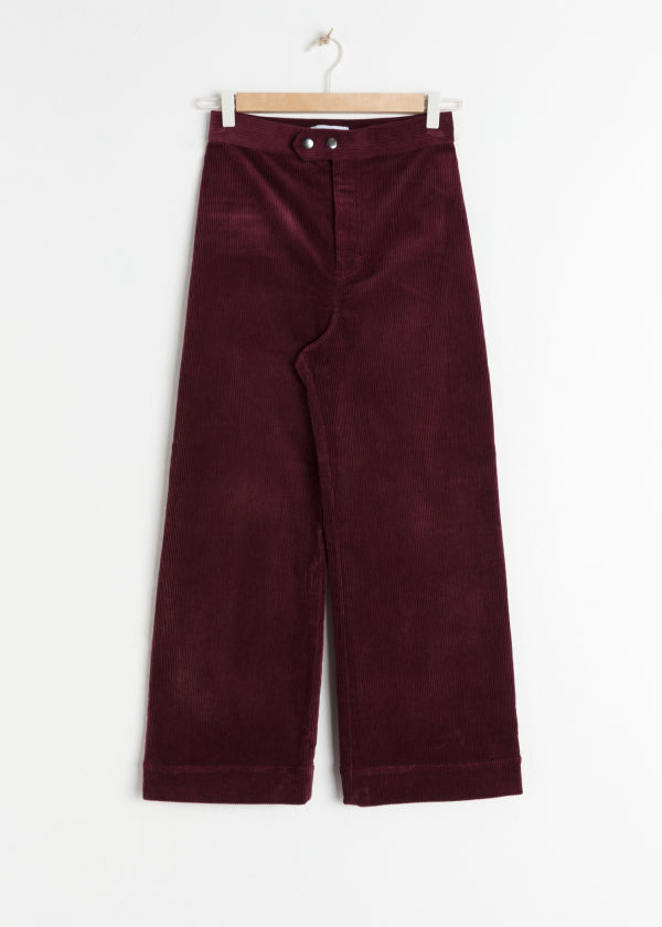 Front image of Stories duo snap button corduroy culottes in red