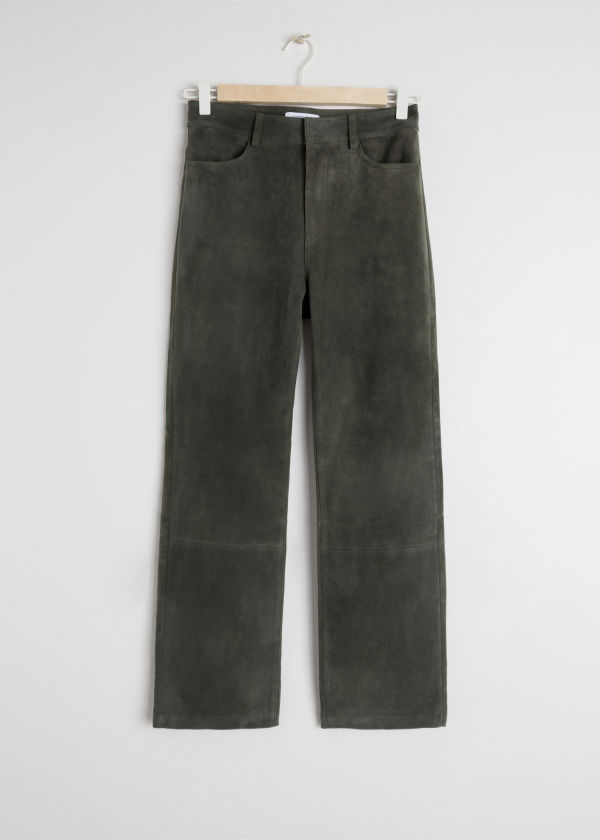 Slim Fit Suede Trousers