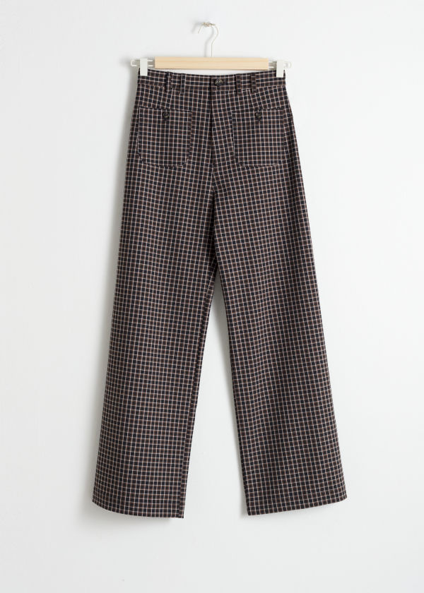 Kick Flare Plaid Trousers