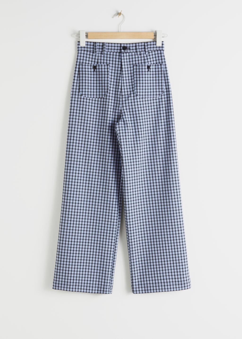 Front image of Stories kick flare plaid trousers in blue