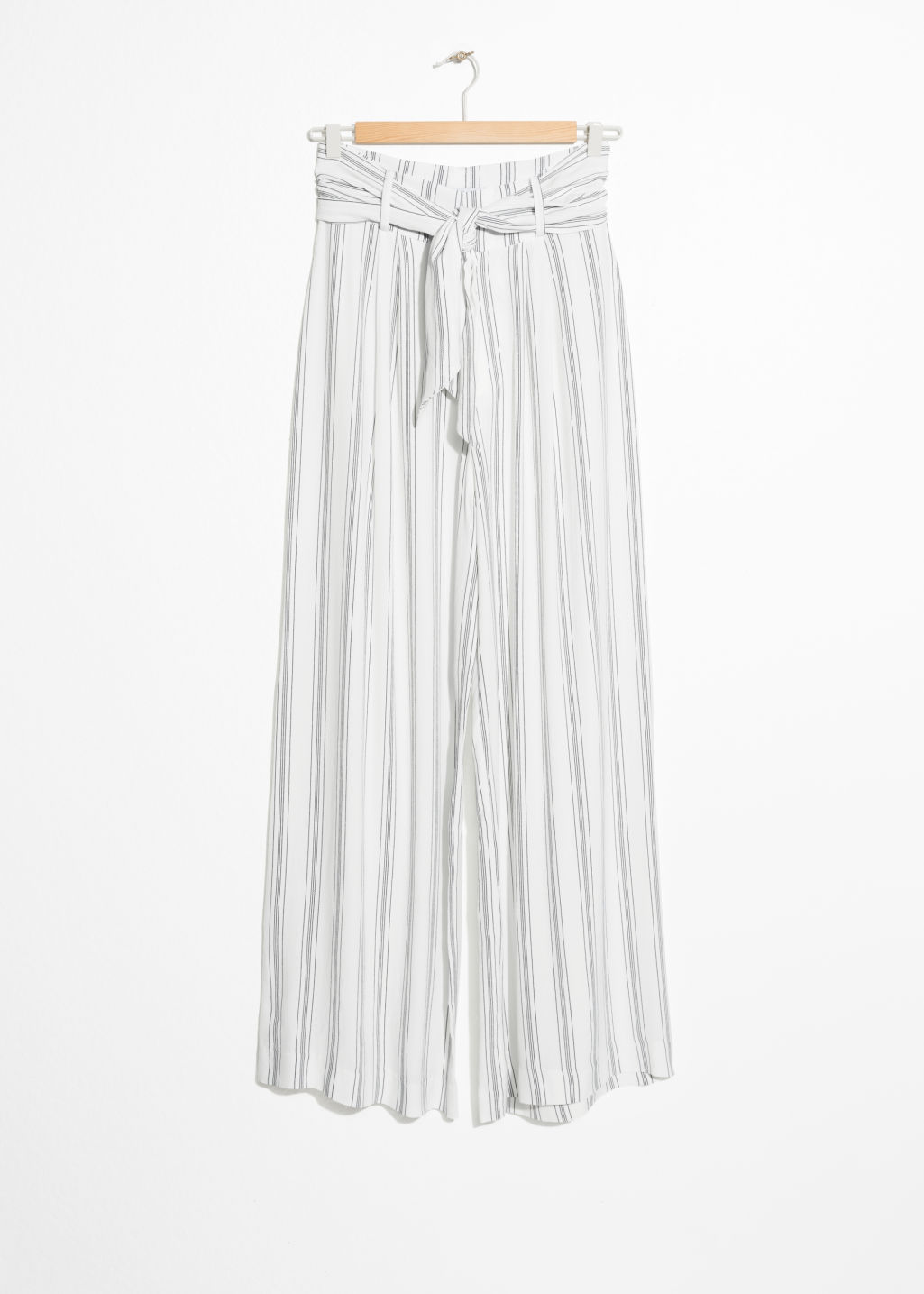 Front image of Stories high waisted belted trousers in white
