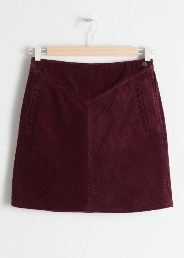 Front image of Stories a-line cord mini skirt in red
