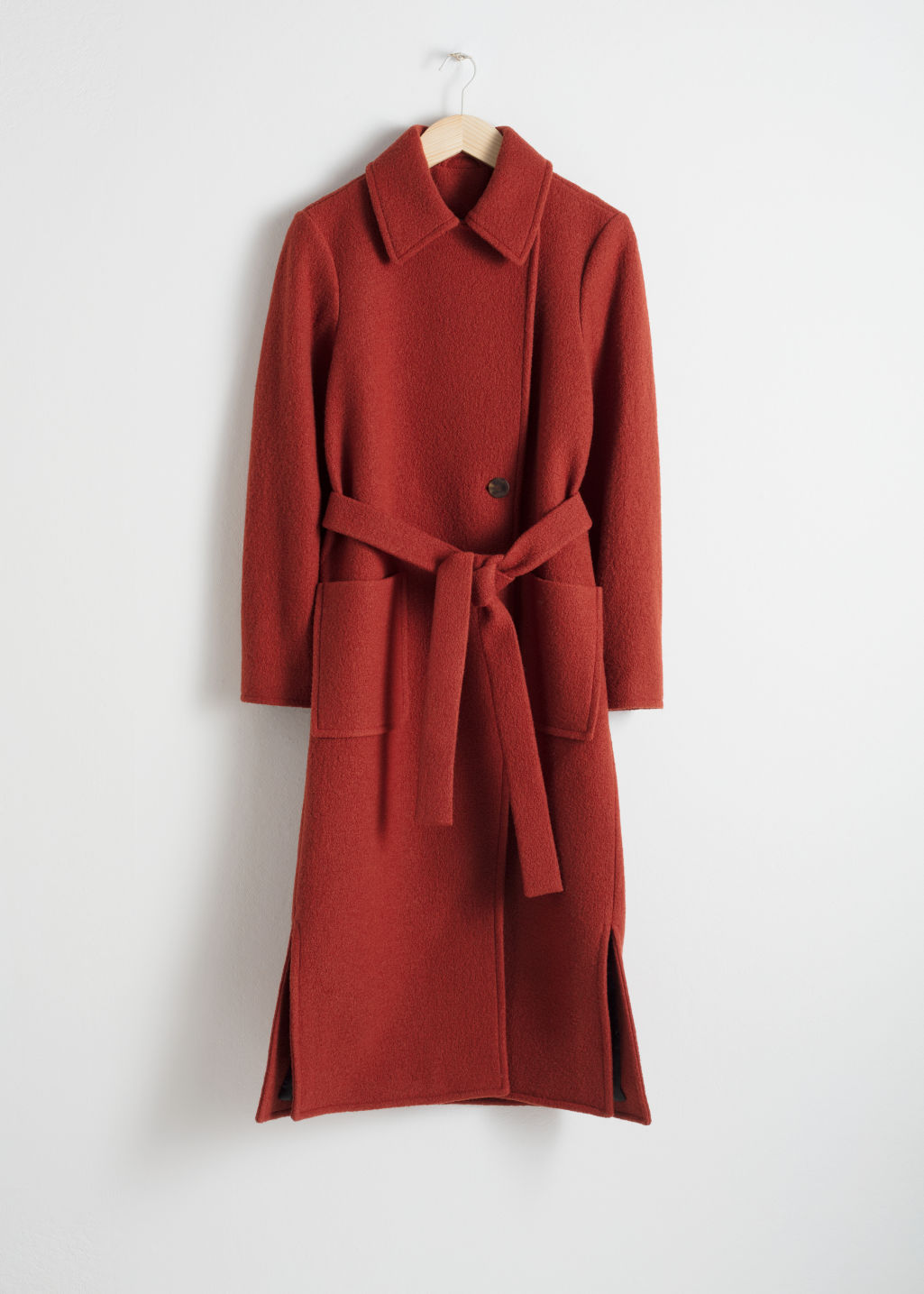 Front image of Stories belted wool coat in red