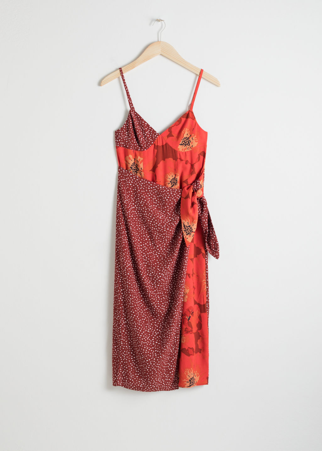 Front image of Stories duo print midi dress in red