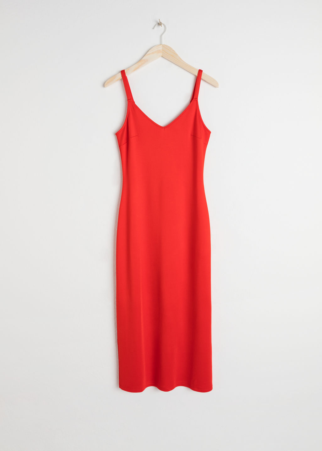 Front image of Stories midi slip dress in red