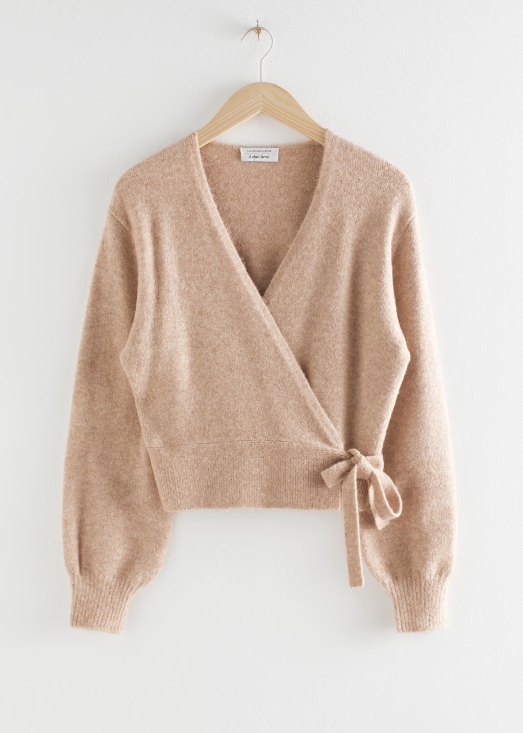 Front image of Stories wrap cardigan in beige