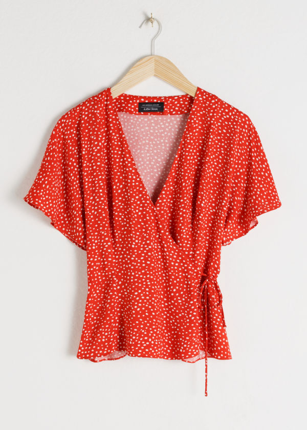 Front image of Stories printed wrap blouse  in red