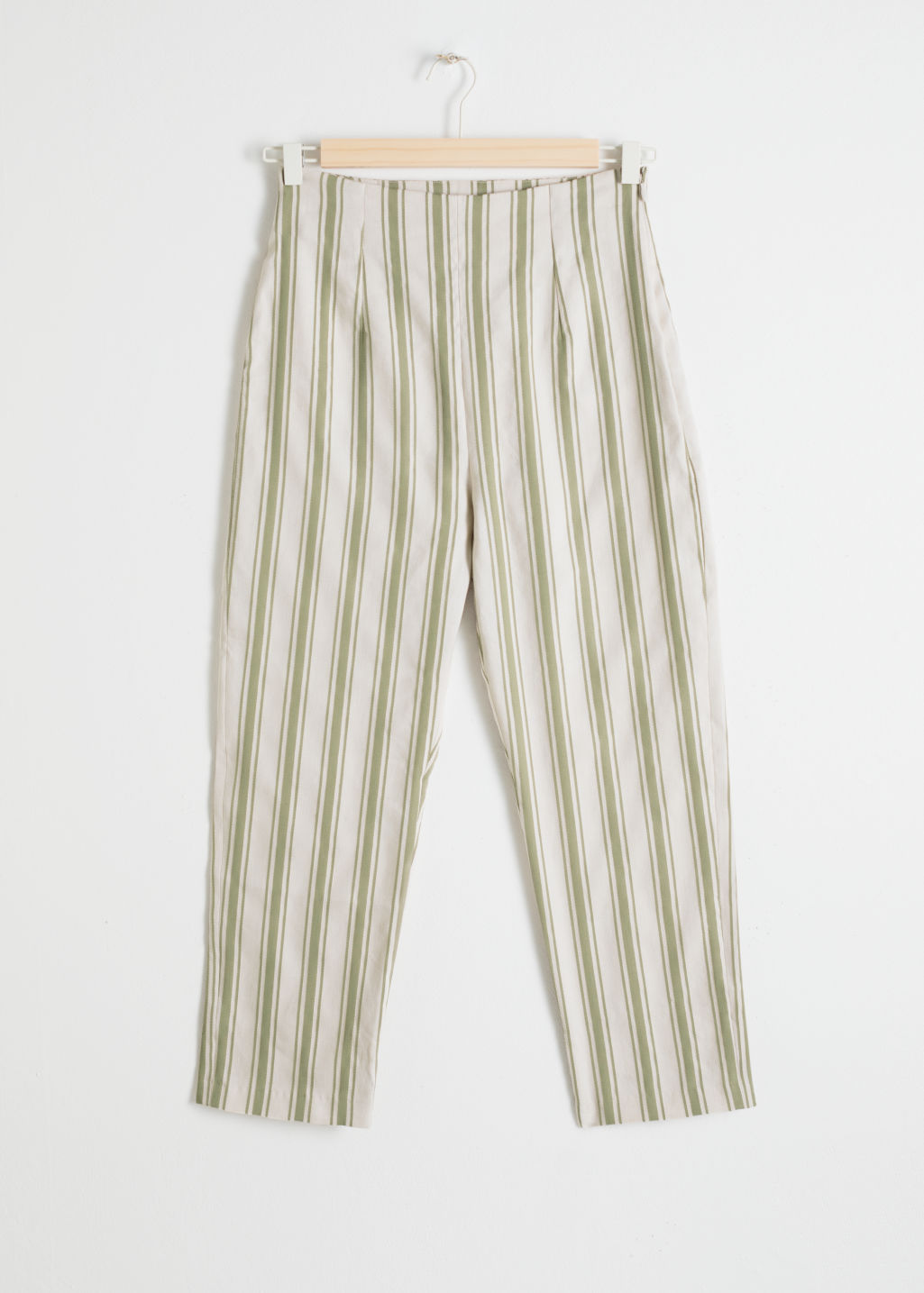 Front image of Stories linen blend cropped trousers in green