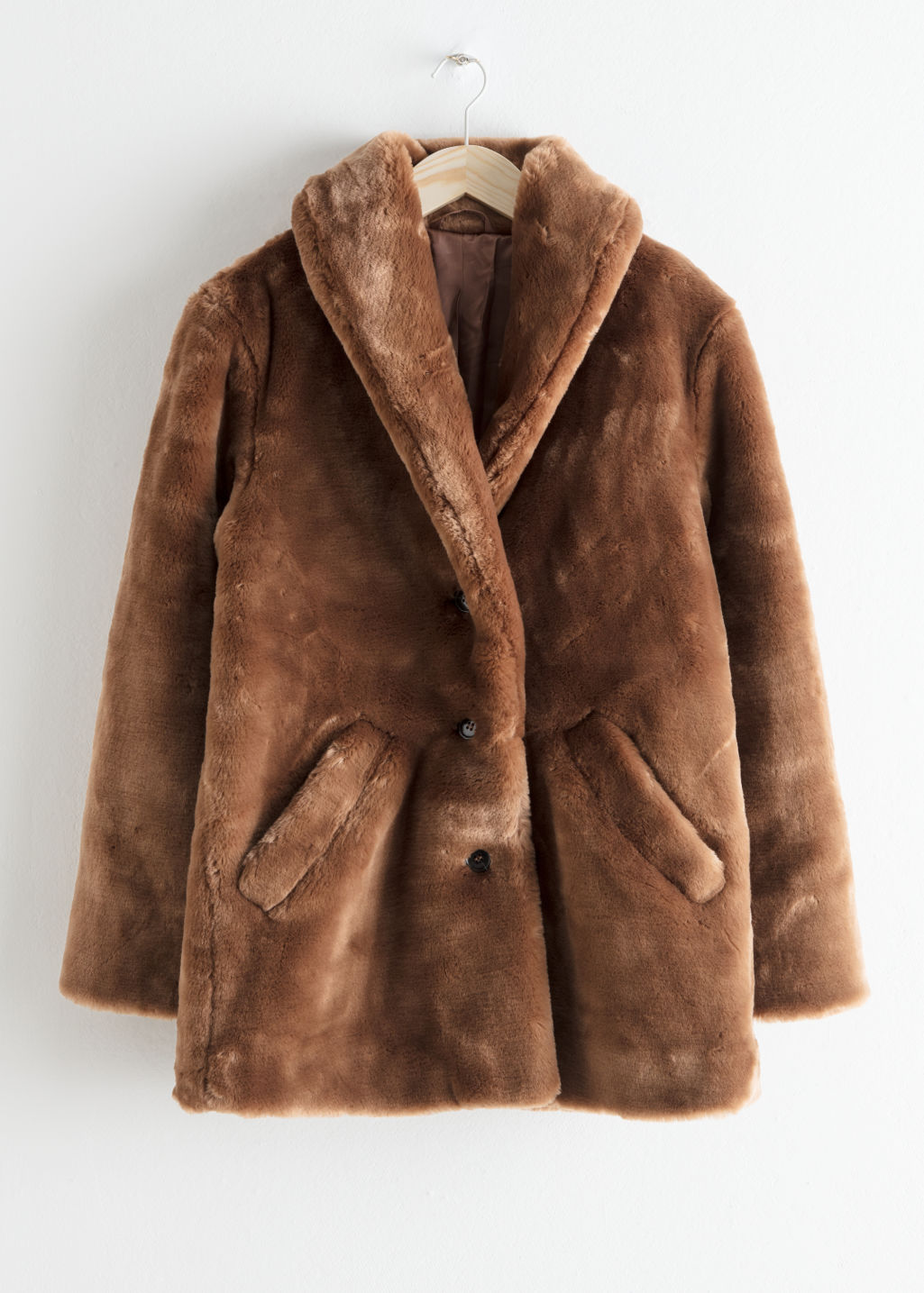 StillLife Front Image of Stories Short Faux Fur Coat in Brown
