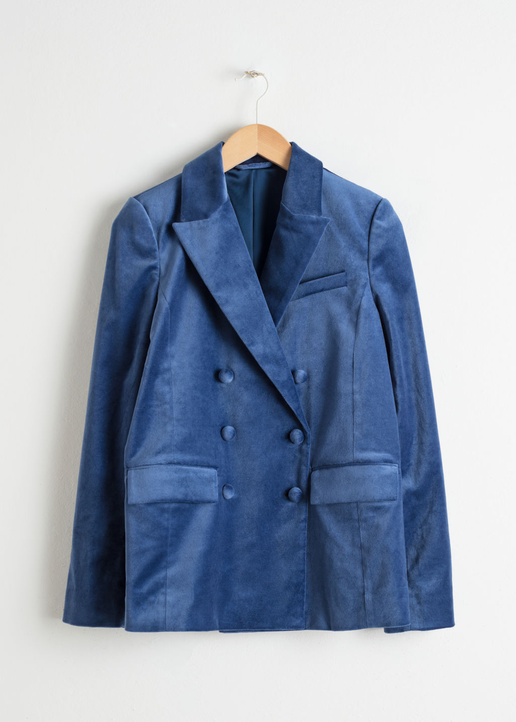 Front image of Stories double breasted velvet blazer in blue