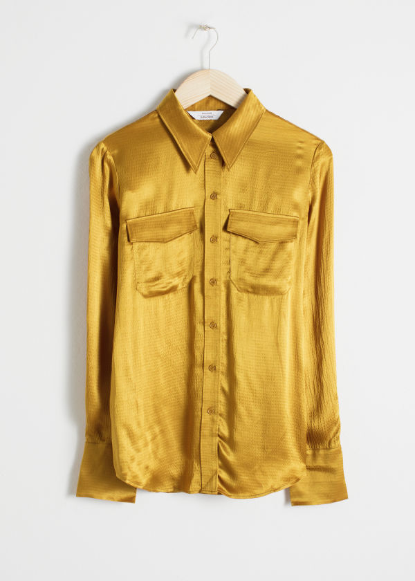 Front image of Stories satin workwear shirt in yellow