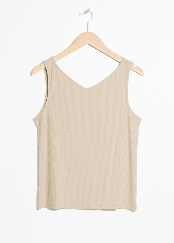 Front image of Stories basic v-neck tank top in beige