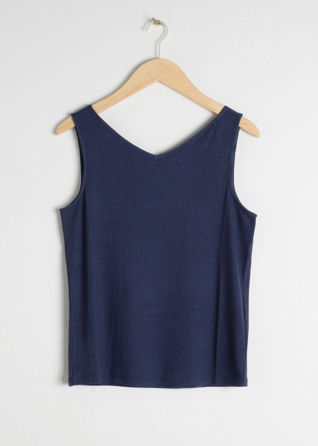 Front image of Stories basic v-neck tank top in blue