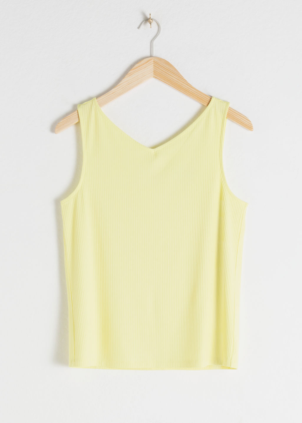 Front image of Stories basic v-neck tank top in yellow