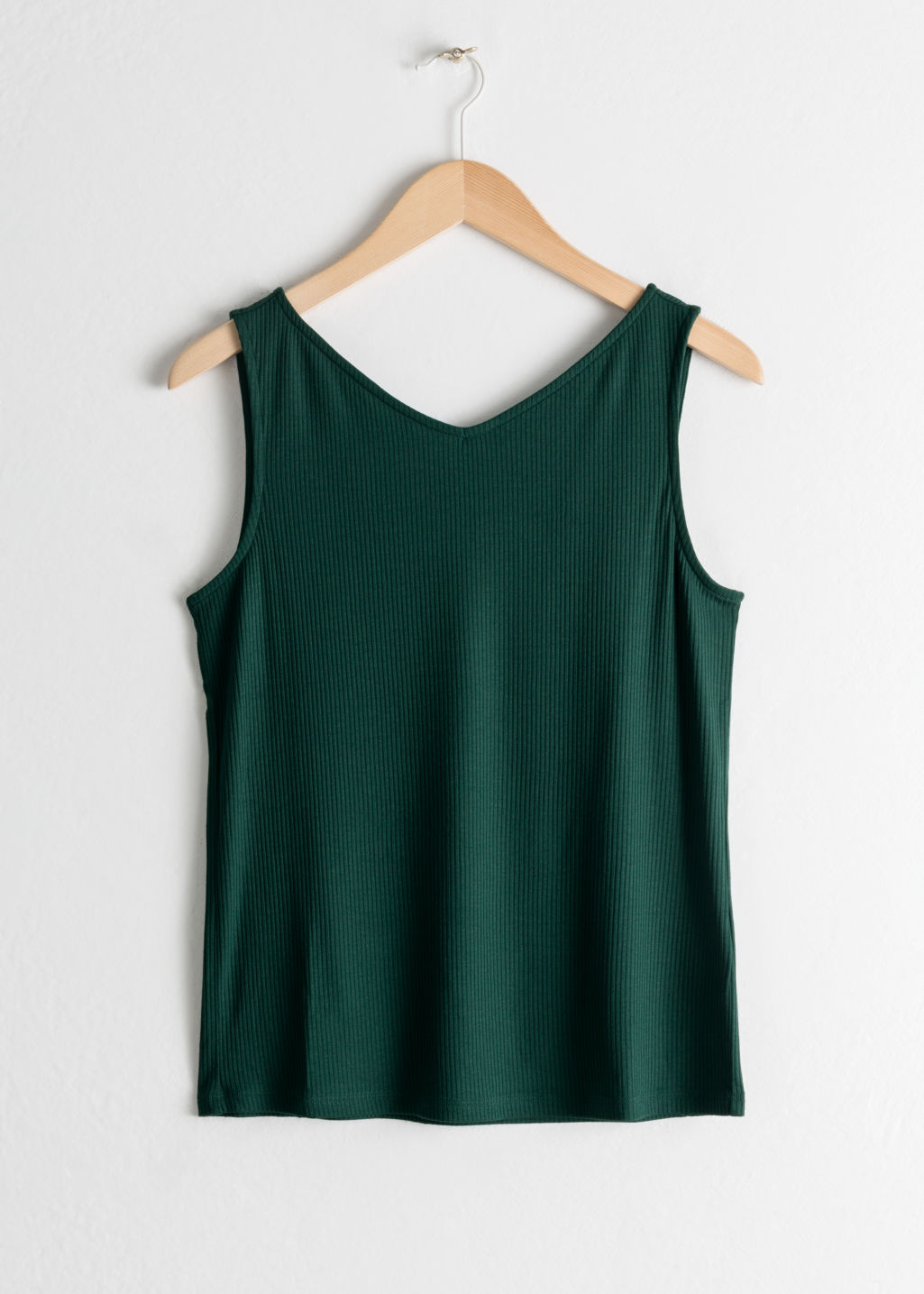 Front image of Stories basic v-neck tank top in green