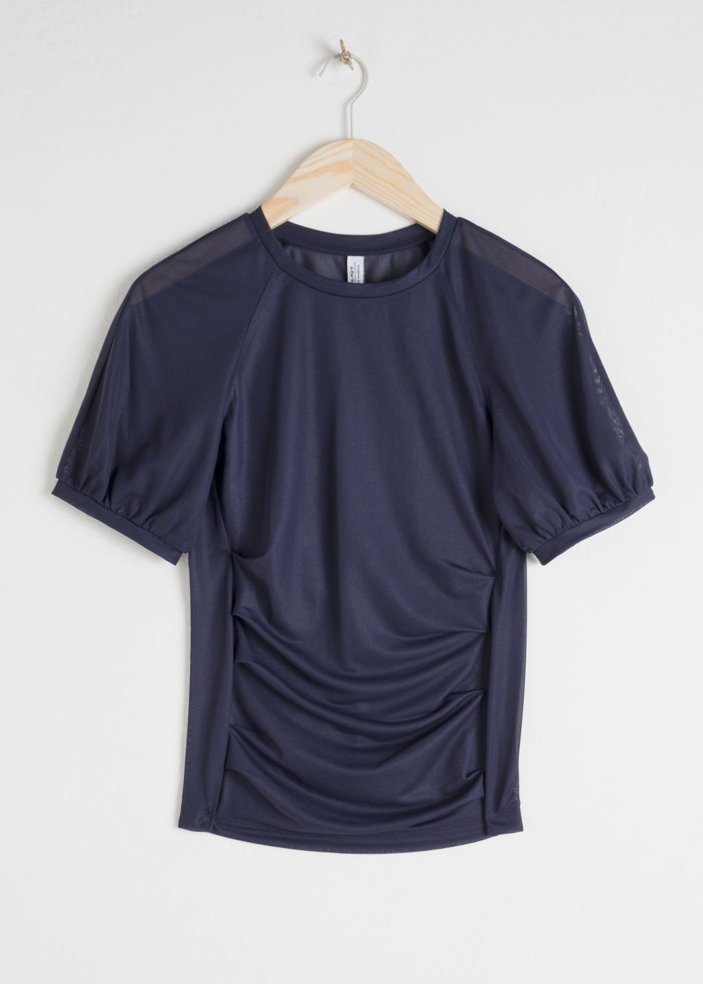 Front image of Stories sheer puff sleeve top in blue