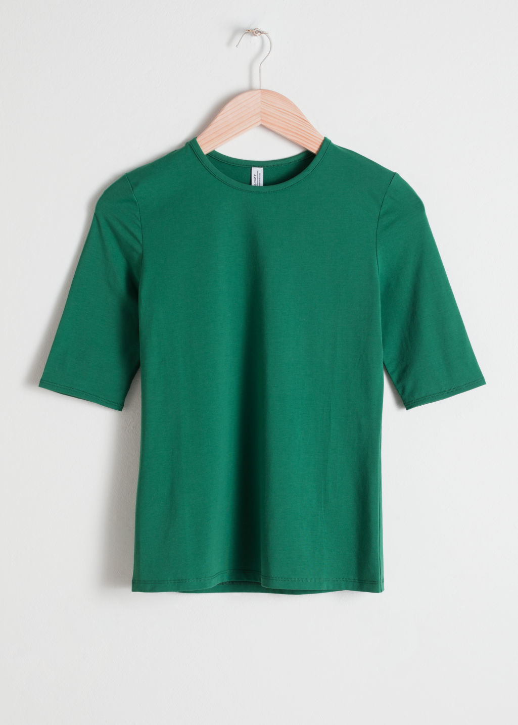 Front image of Stories fitted stretch cotton tee in green