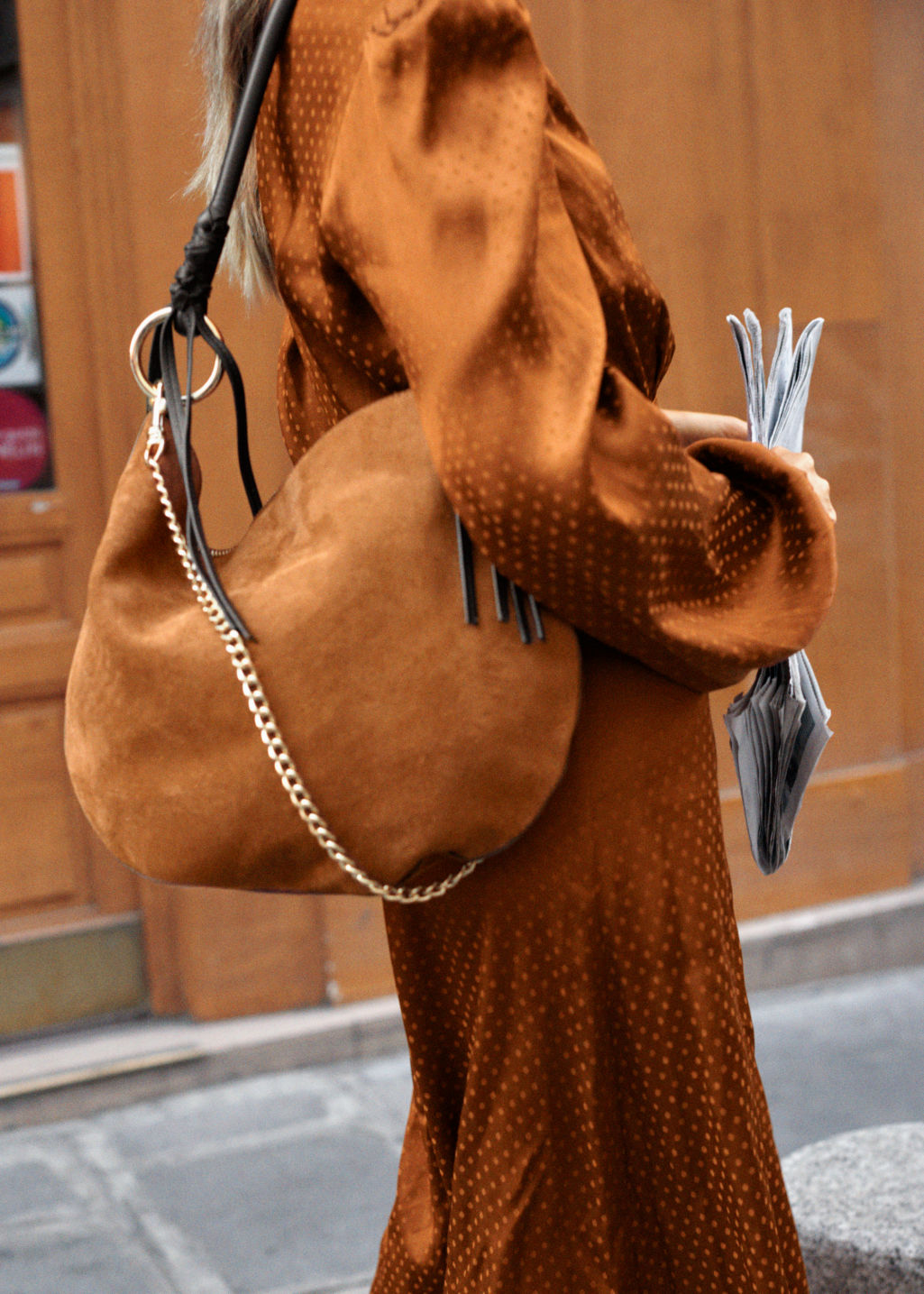 Back image of Stories suede hobo tote bag in beige