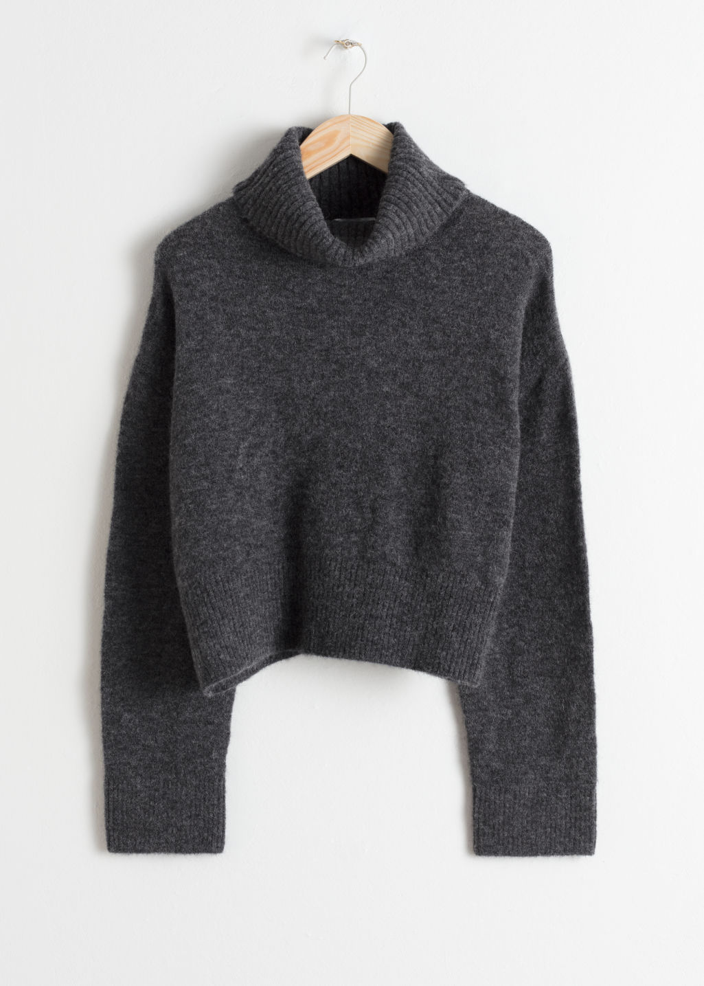 Front image of Stories wool blend turtleneck sweater in grey