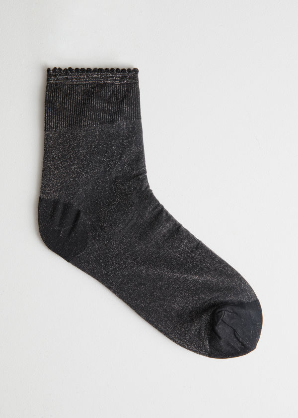Scallop Edge Glitter Socks